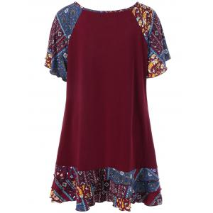 Plus Size Raglan Sleeve Layered Top with Pockets - DEEP RED 5XL