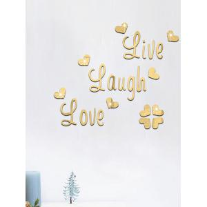 Letter Love Heart Art Removable Mirror Wall Sticker