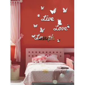 3D Butterfly Letter Acrylic Removable Mirror Wall Sticker -
