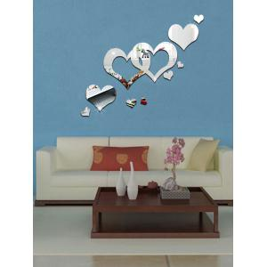 Acrylic Hollow Heart Removable Mirror Wall Art Sticker