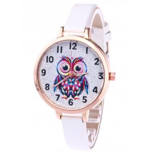 Faux Leather Strap Owl Glitter Watch - White - One Size(fit Size Xs To M)