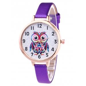 Faux Leather Strap Owl Glitter Watch - Purple - 3xl