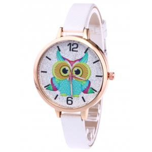 Owl Faux Leather Strap Glitter Watch - White - One Size(fit Size Xs To M)