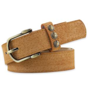 Retro Rivet Embellished Faux Suede Belt - Brown - 37