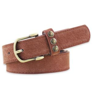 Retro Rivet Embellished Faux Suede Belt - Coffee - 37