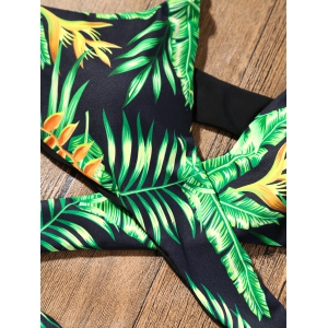 Plunge Strappy Bikini with Tropical Printed - GREEN L