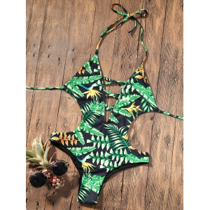 Backless Plunge Monokini with Tropical Print