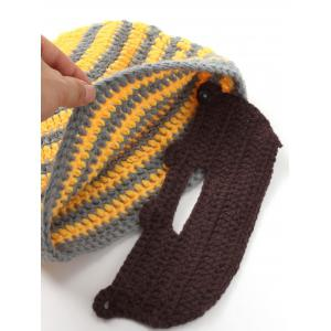 Winter Whimsy Manuel Stripe Acrylique Knitting Beard Hat Set -