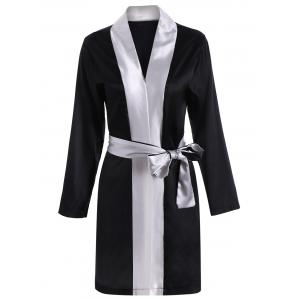 Color Block Wrap Robe