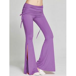 High Slit Flare Bell Bottom Yoga Pants - Purple - S