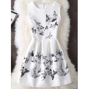 Sleeveless Butterfly Print Cocktail Dress