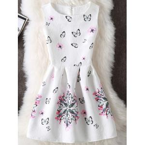 Butterfly and Floral Print Sleeveless Mini Dress