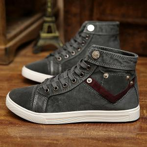 Suede Insert Metal Canvas Shoes - GRAY 41