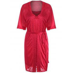 Scalloped Robe with Cami Babydoll - Red - One Size