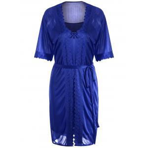 Scalloped Robe with Cami Babydoll - Deep Blue - One Size