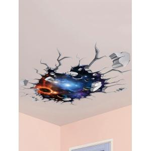 Wall Broken 3D Galaxy Planet Ceiling Wall Stickers - Colormix - 50*70cm