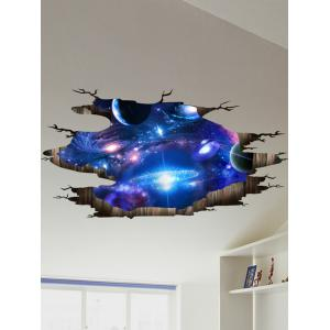Ceiling Floor Decor 3D Galaxy Planet Wall Stickers - Deep Blue - 60*90cm