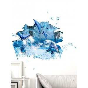3D Ocean Dolphin Toilet Wall Art Sticker