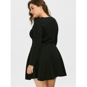 Plus Size Cutout Skater Dress with Long Sleeves - BLACK 3XL
