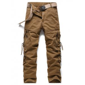 Buckle Embellished Zipper Pockets Design Cargo Pants