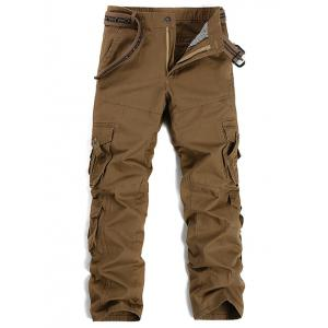 Buttons Design Pockets Embellished Cargo Pants