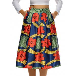 Printed High Waist Tea Length Skirt - Colormix - Xl