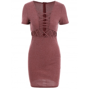 Lace Up Ribbed Fitted Sweater Dress