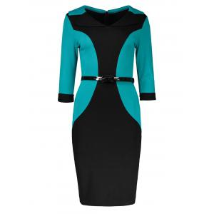 Belted Back Slit Two Tone Bodycon Sheath Dress - Green - M