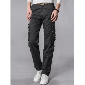 Embroidered Pockets Zipper Embellished Cargo Pants - GRAY 38