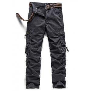 Embroidered Pockets Zipper Embellished Cargo Pants