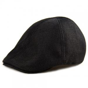 Plain Linen Fabric Ivy Hat - Black - One Size