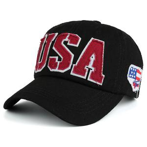 USA Flag Letters Embroidered Baseball Hat - Black - One Size