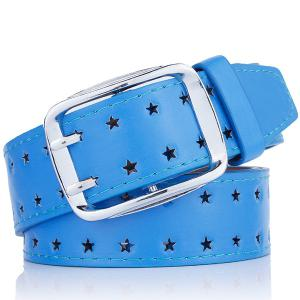 Hollow Out Stars Pin Buckle Wide PU Leather Belt - Blue - Xl
