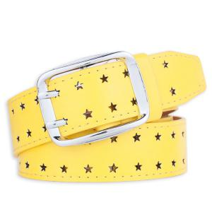Hollow Out Stars Pin Buckle Wide PU Leather Belt - Yellow - One Size