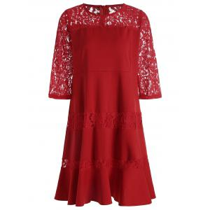 Lace Insert Plus Size Knee Length Dress