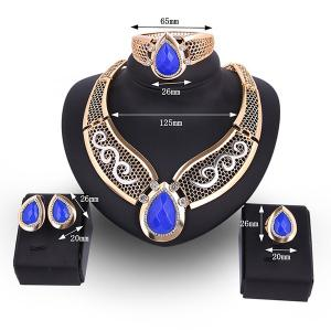 Teardrop Hollow Out Faux Ruby Jewelry Set - BLUE