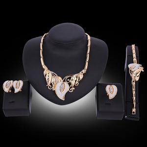 Flowers Design Faux Gem Jewelry Set - GOLDEN