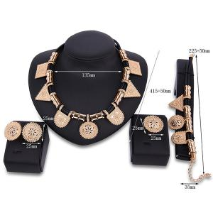 Sun Totem Geometric Engraved Jewelry Set - GOLDEN