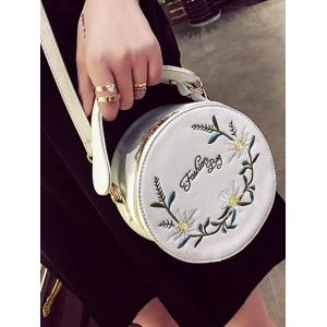 Flower Embroidery Canteen Crossbody Bag - WHITE