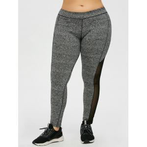 Plus Size taille haute empiècements en maille Leggings - Gris 4XL