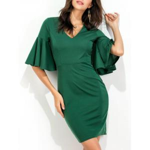 Flare Sleeve V Neck Bodycon Dress - Green - Xl