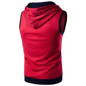Hooded Zip Up Tank Top - RED S