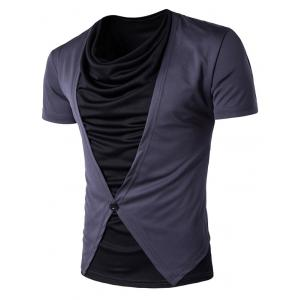 Faux Twinset Cowl Neck Button Design T-Shirt