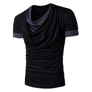 Faux Twinset Color Block Panel Cowl Neck T-Shirt