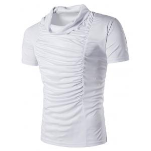 Cowl Neck Plicated Panel Design T-Shirt