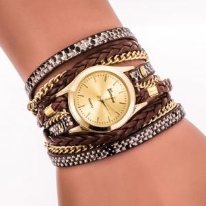 Faux Leather Strap Wrap Bracelet Watch - Brown