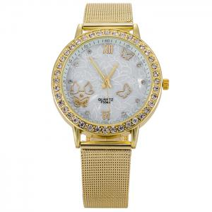 Alloy Mesh Strap Rhinestone Butterfly Watch