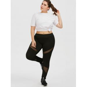Plus Size Mesh Panel Workout Leggings -