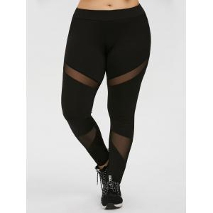 Plus Size Mesh Panel Workout Leggings - Black - 3xl