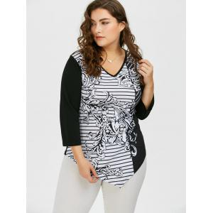V Neck Plus Size Striped Pattern Asymmetric T-Shirt - BLACK 3XL